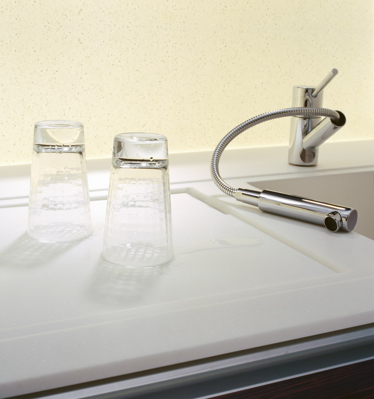view of the new laminex freestyle surface in glass, plumbing fixture, product design, sink, tap, white