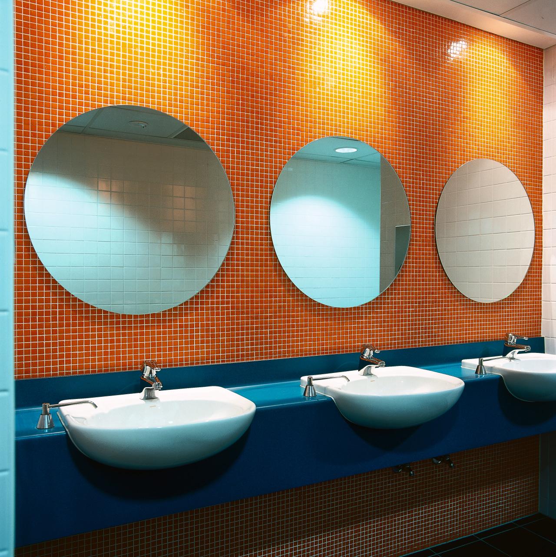 View of the bathroom, dark blue vanity with bathroom, ceiling, ceramic, interior design, plumbing fixture, product design, room, sink, tile, toilet, wall