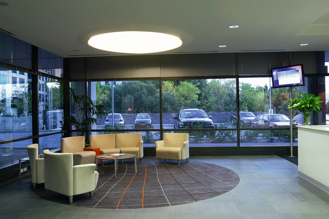 View of the seating area in the reception, architecture, interior design, lobby, real estate, window, gray, black