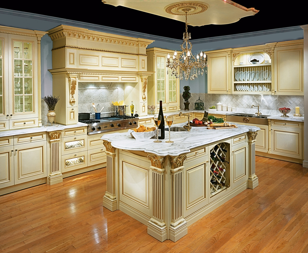 view of this victorian designed kitchen showing timber cabinetry, countertop, cuisine classique, floor, flooring, hardwood, interior design, kitchen, room, wood flooring, brown