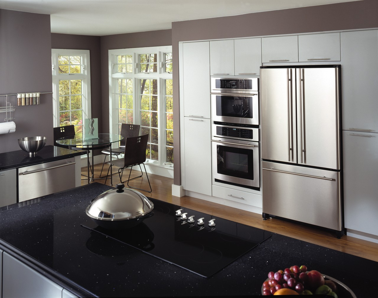 An example of an easy to use and cabinetry, countertop, cuisine classique, home appliance, interior design, kitchen, kitchen appliance, kitchen stove, major appliance, refrigerator, gray, black