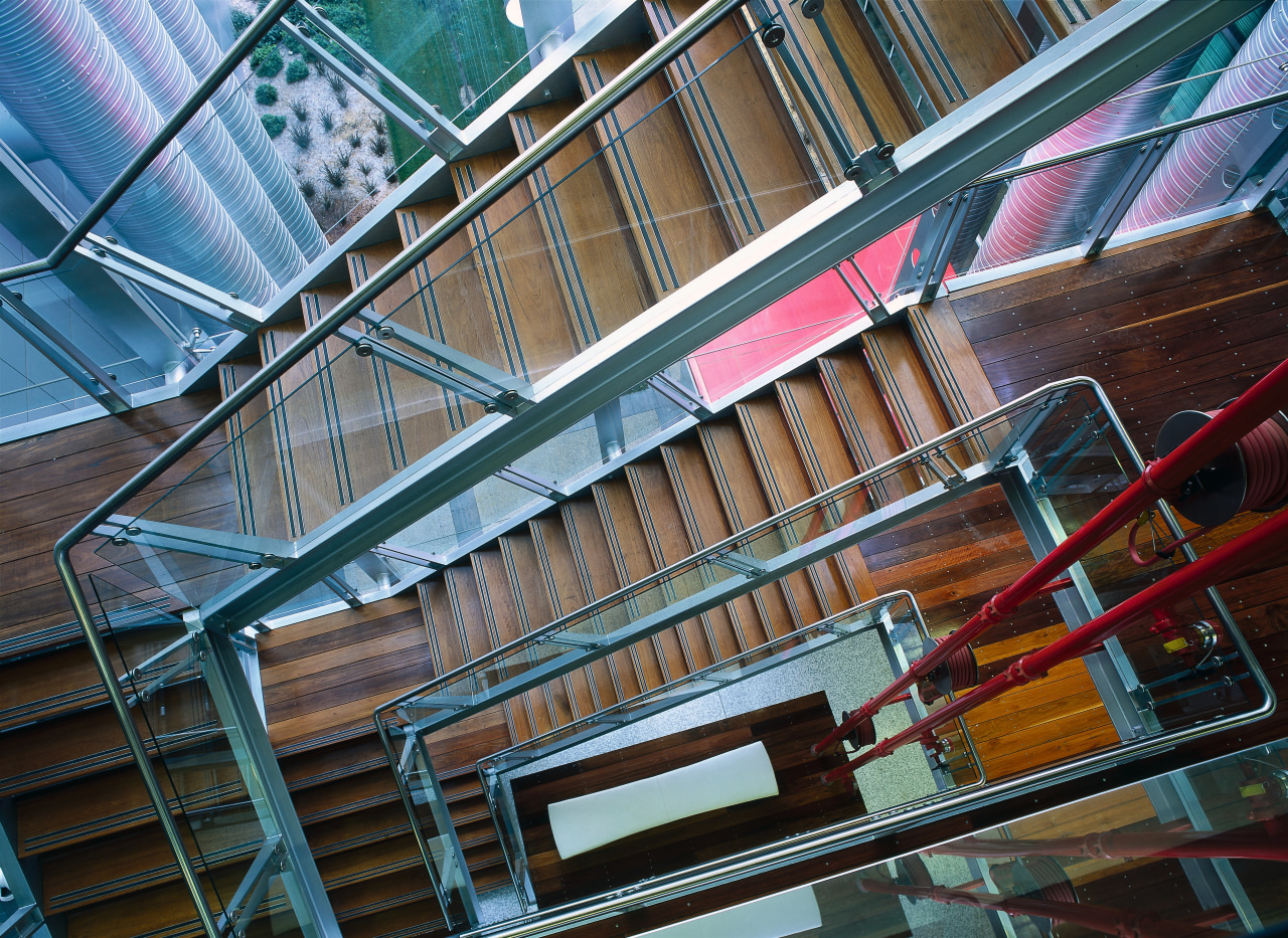view of the stairway columns architecture, building, daylighting, facade, glass, line, metropolitan area, structure, urban area, black