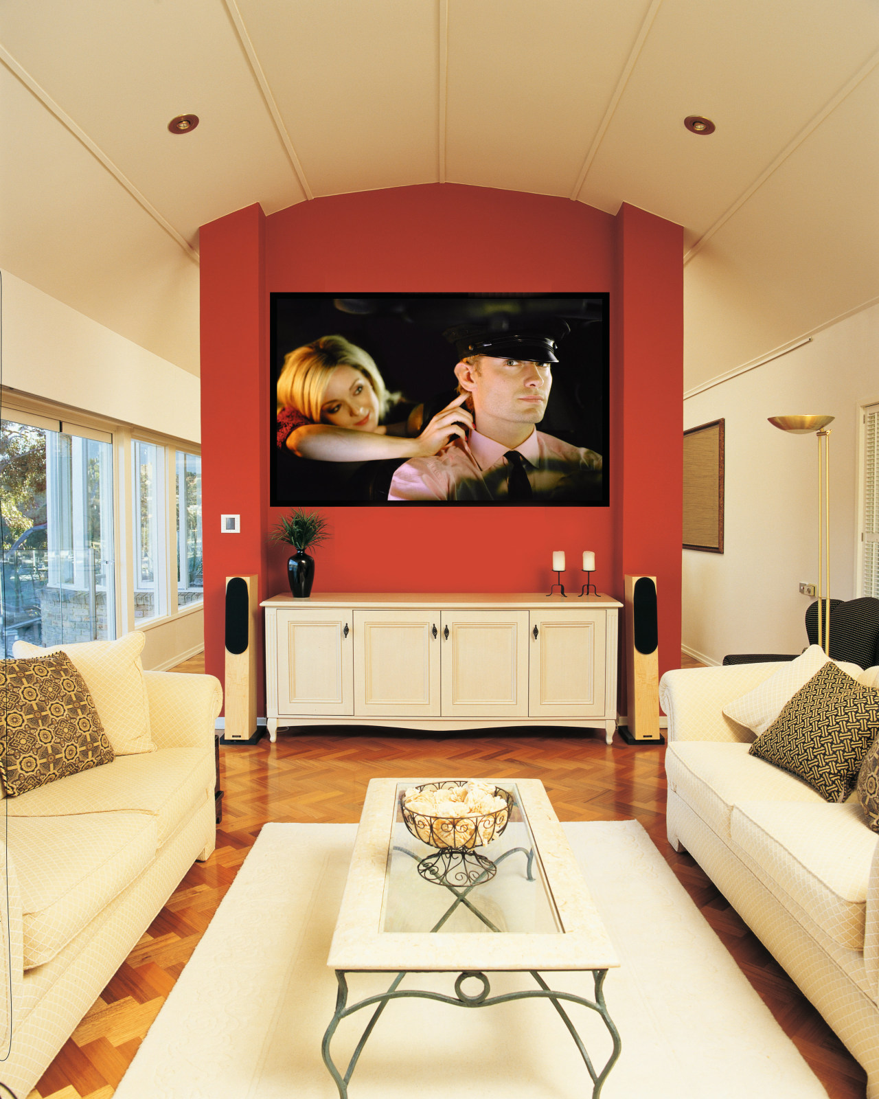 view of the custom designed home theatre and ceiling, furniture, home, interior design, living room, room, wall, orange