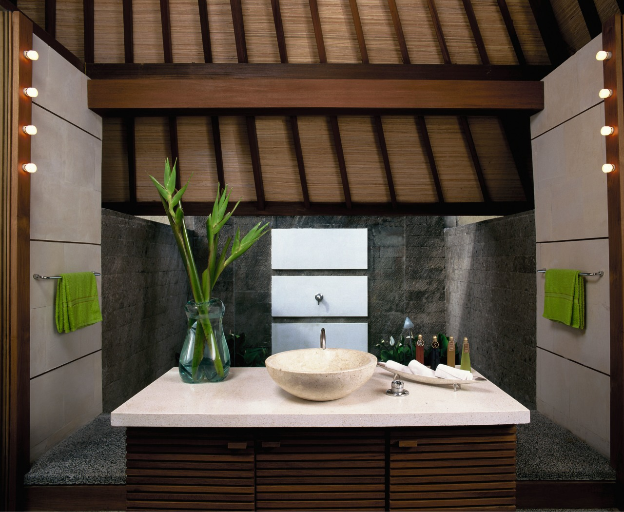view of the day spa using apaiser stone/terrazzo architecture, countertop, house, interior design, black