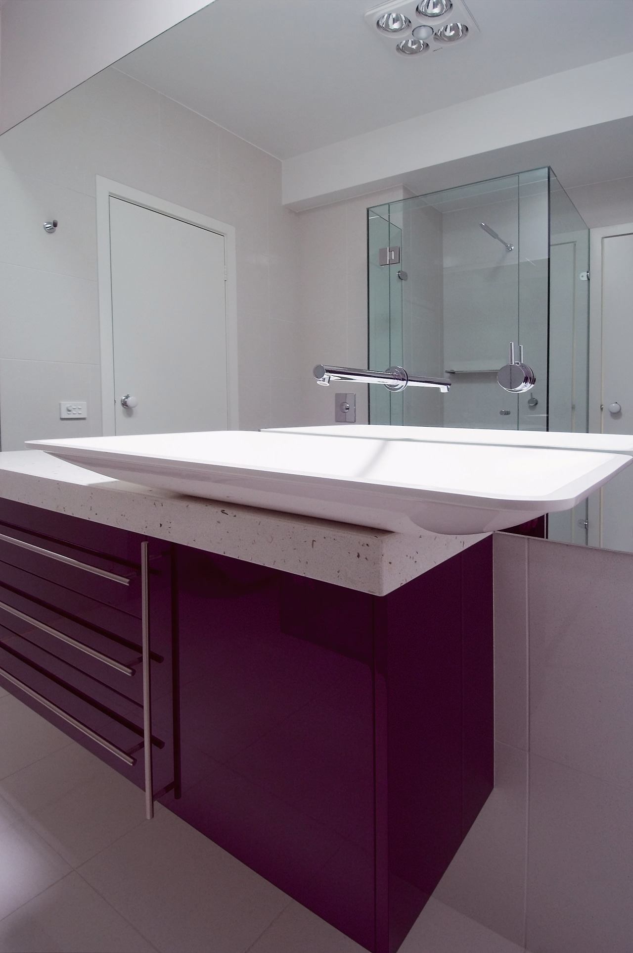 view of the vanity with a custom blood architecture, bathroom, bathroom accessory, bathroom cabinet, bathroom sink, cabinetry, countertop, floor, glass, interior design, kitchen, product design, room, sink, tap, gray