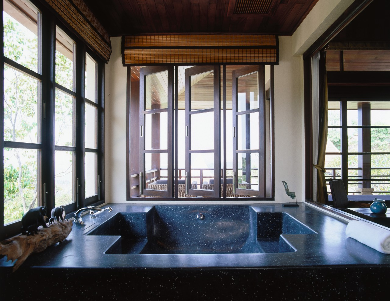 view of the terazzo bath that looks out architecture, daylighting, estate, interior design, property, real estate, window, black