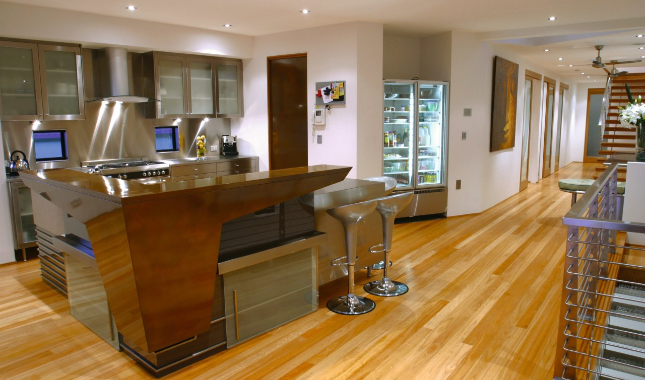 View of kitchen with timber, stainless steel and countertop, floor, flooring, hardwood, interior design, kitchen, room, wood, wood flooring, brown