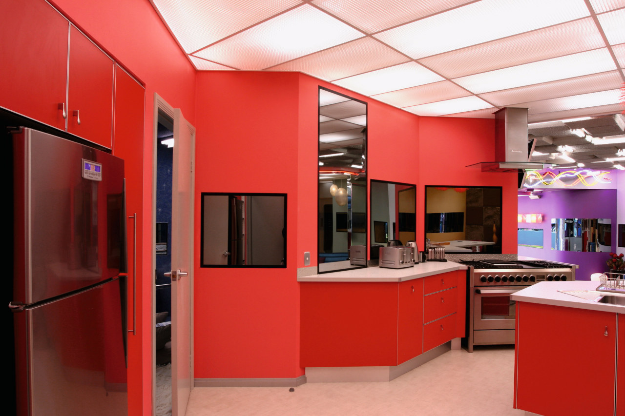 An example of some of the bold colours interior design, kitchen, office, room, red