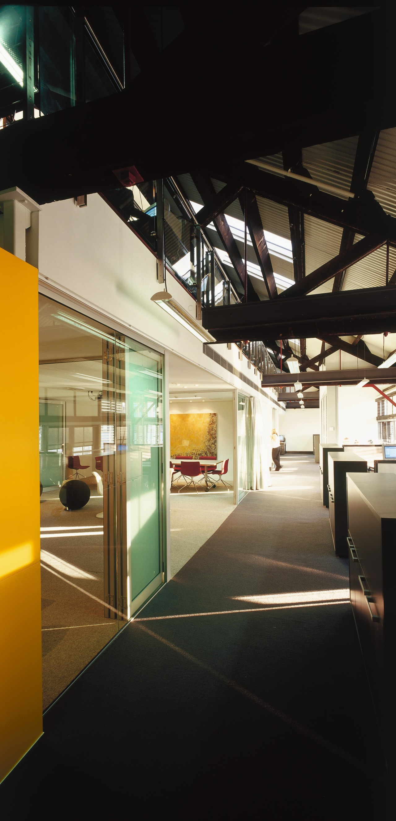 A view of the office area and communal architecture, daylighting, glass, house, interior design, black