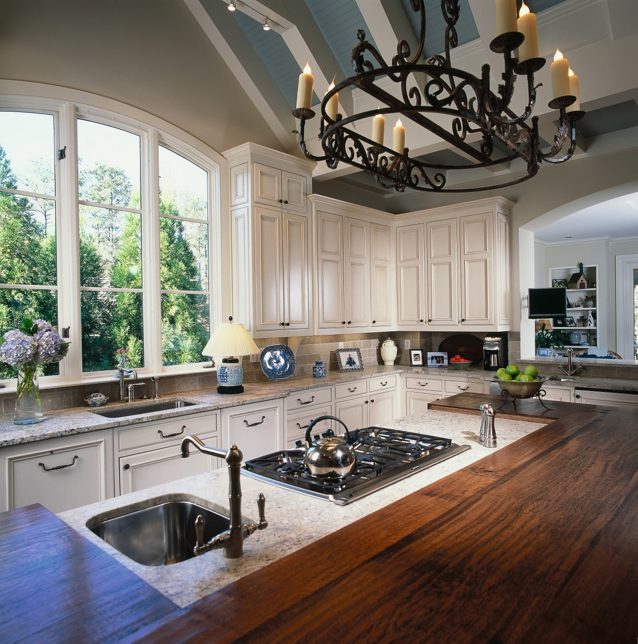 A view of the kitchen area, wooden cabinetry, countertop, home, interior design, kitchen, room, gray