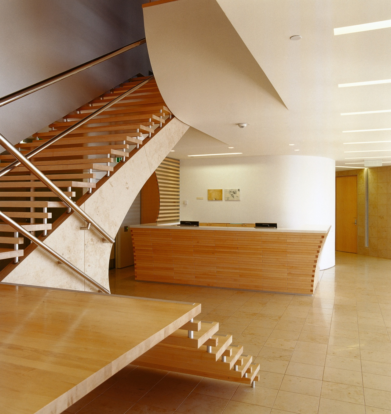 A view o fthe wooden staircase, tiled floor, architecture, ceiling, daylighting, floor, flooring, handrail, hardwood, interior design, laminate flooring, lobby, real estate, stairs, wood, wood flooring, orange, brown