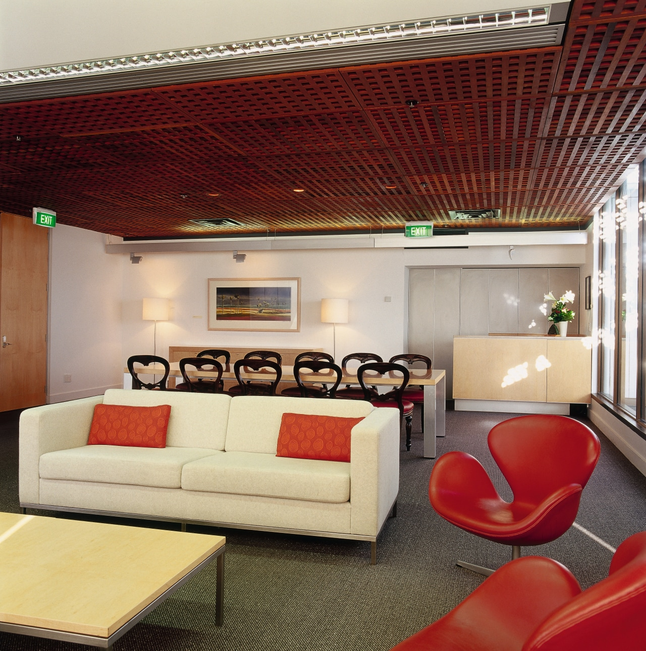 A view of the meeting area, carpet, wooden ceiling, furniture, interior design, living room, real estate, red, gray