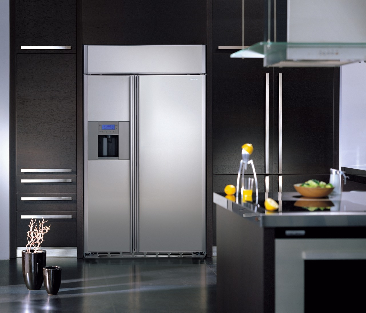 Large stainless steel side by side refrigerator set home appliance, interior design, kitchen, kitchen appliance, major appliance, product design, refrigerator, black, gray