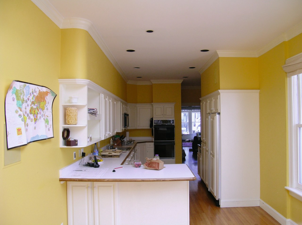 before shots of this narrow kitchen that is ceiling, countertop, daylighting, floor, home, house, interior design, kitchen, living room, real estate, room, window, gray