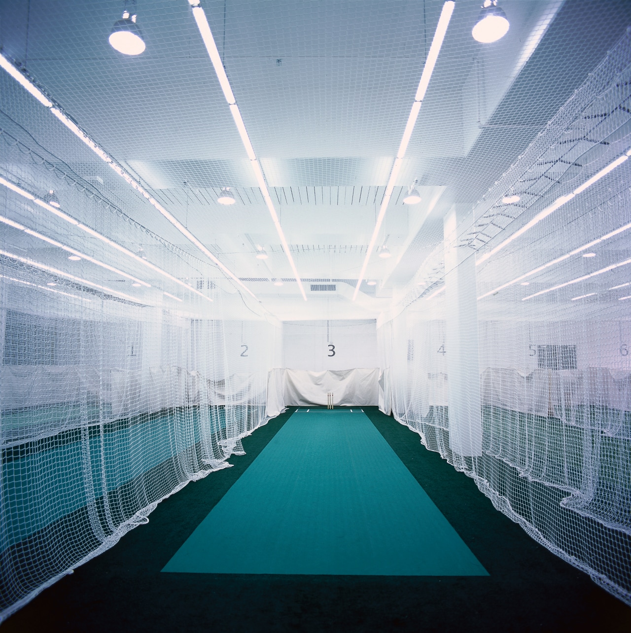 View of indoor cricket practice nets with strong architecture, ceiling, daylighting, daytime, light, lighting, sky, structure, symmetry, gray