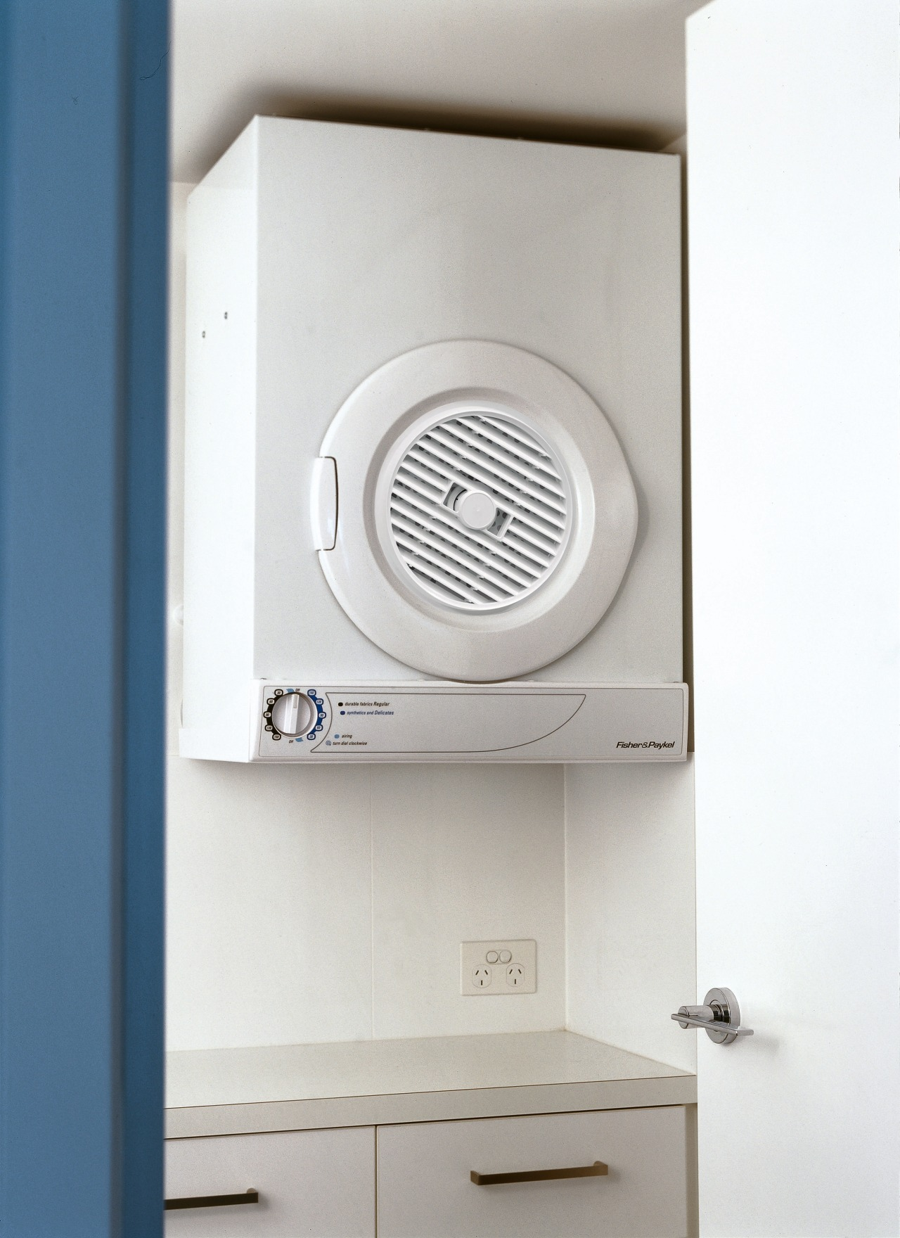 Dryer suspended on wall. home appliance, product, product design, white, gray