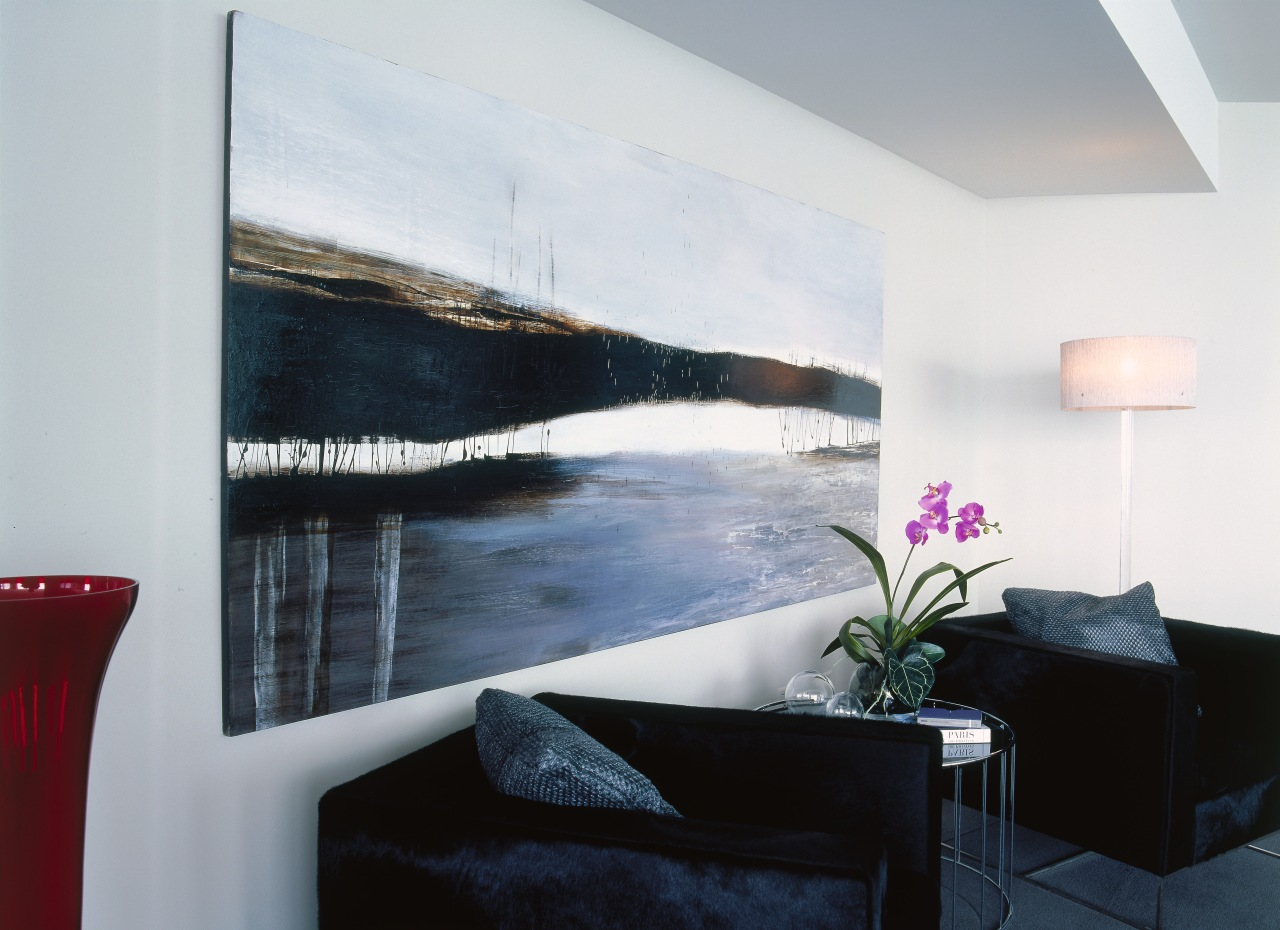 Lounge room with black chairs and large landscape interior design, living room, modern art, painting, property, room, wall, gray, black