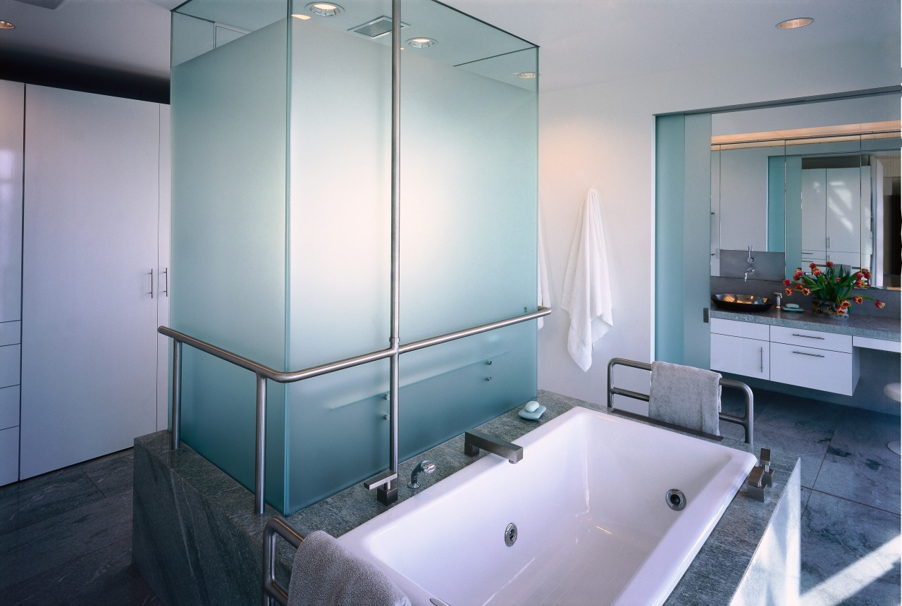 view of this bathroom featuring a large shower bathroom, glass, interior design, room, gray