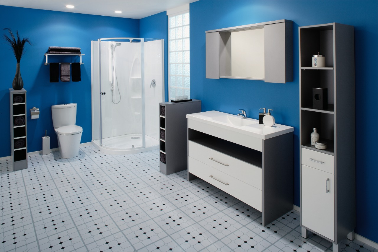 A view of a bathrom designed by Vogue bathroom, bathroom accessory, bathroom cabinet, blue, interior design, product, product design, room, gray
