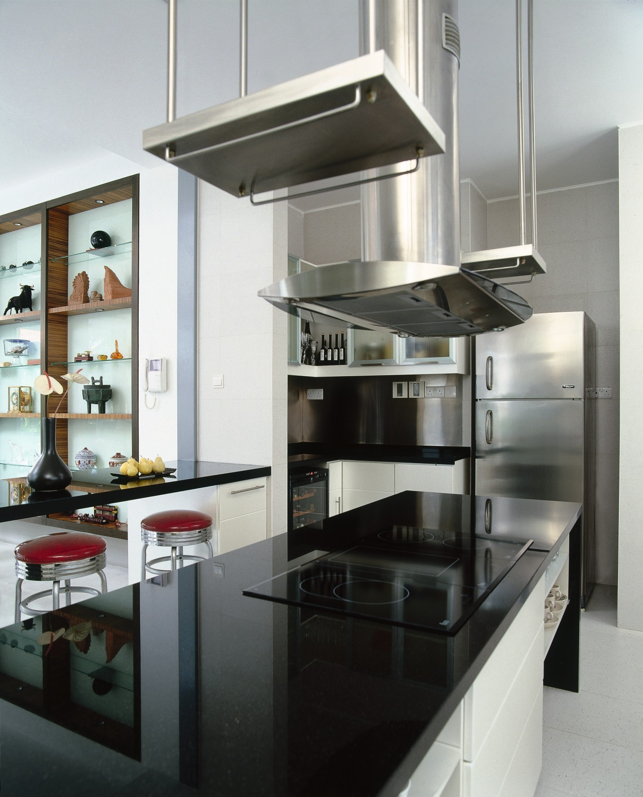 A view of the kitchen area, stone benchtops, countertop, home appliance, interior design, kitchen, kitchen appliance, gray, black, white