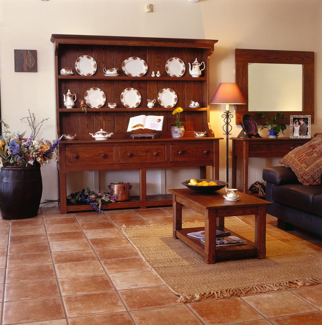 Lounge room with large oak Welsh dresser, and floor, flooring, furniture, hardwood, interior design, living room, room, shelving, table, wood flooring, brown