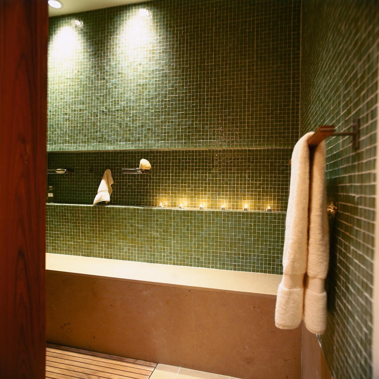 view of the midori greent tiles used in bathroom, floor, flooring, interior design, room, tile, wall, window, brown