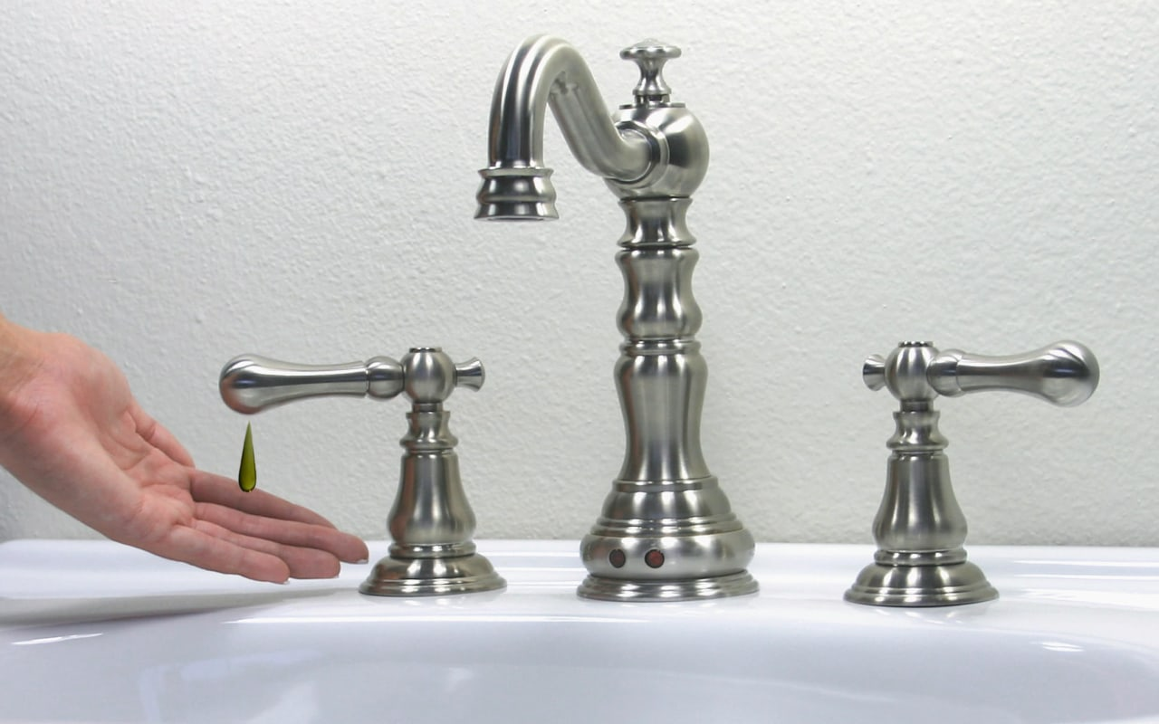 view of these stainless autoluxe decorative automatic faucet, brass, metal, plumbing fixture, product design, tap, white