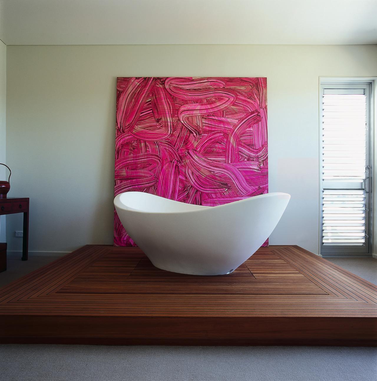 view of this bathrrom featuring mini lavasca tub, ceramic, interior design, product design, purple, table, gray