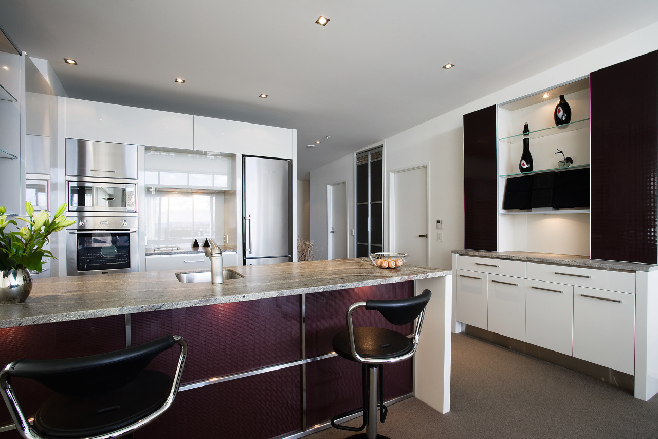 A view of a kitchen by Fyfe Kitchens cabinetry, countertop, cuisine classique, interior design, kitchen, real estate, room, gray, black