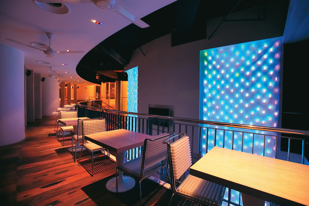 A view of the dining area. architecture, interior design, lighting, restaurant, table, black