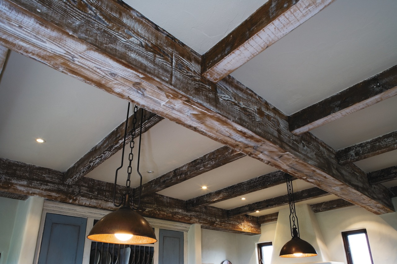 A view of some hardwood beams from the beam, ceiling, daylighting, wood, gray, black