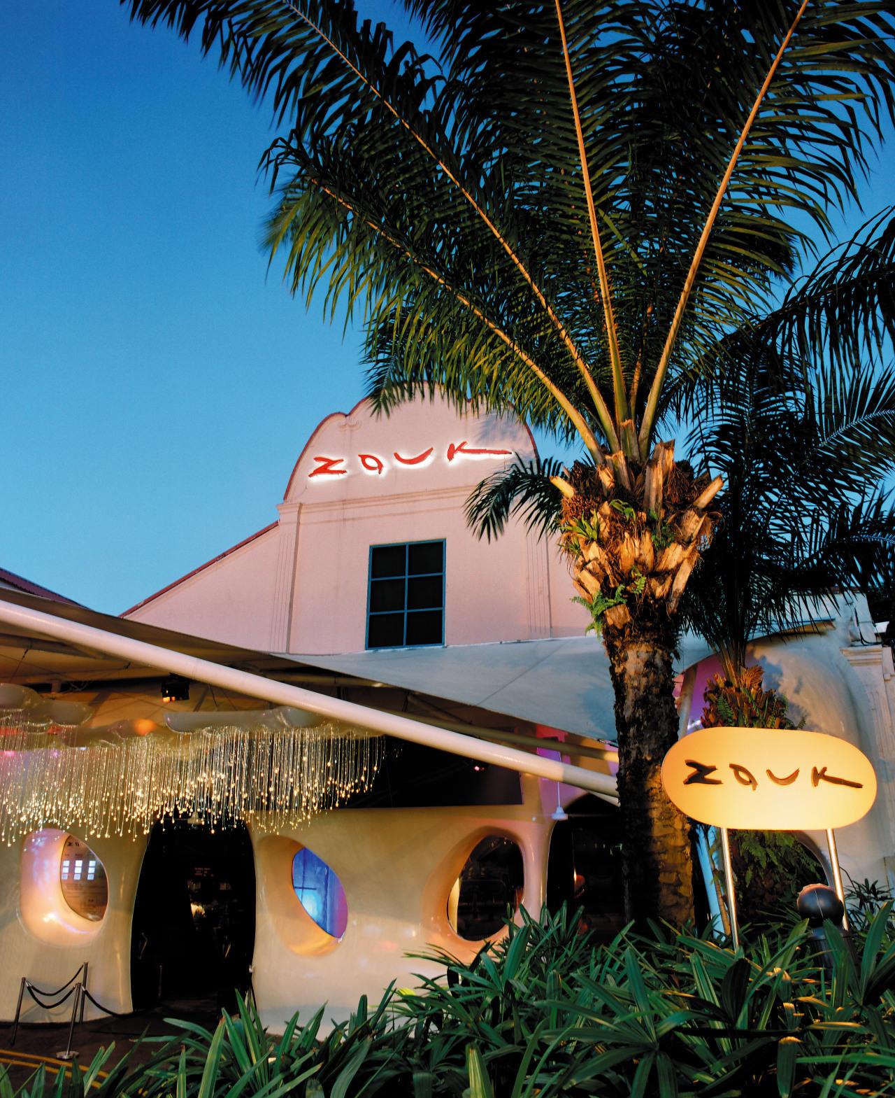 view of the exterior of the zouk nightclub arecales, lighting, palm tree, plant, sky, tree, black