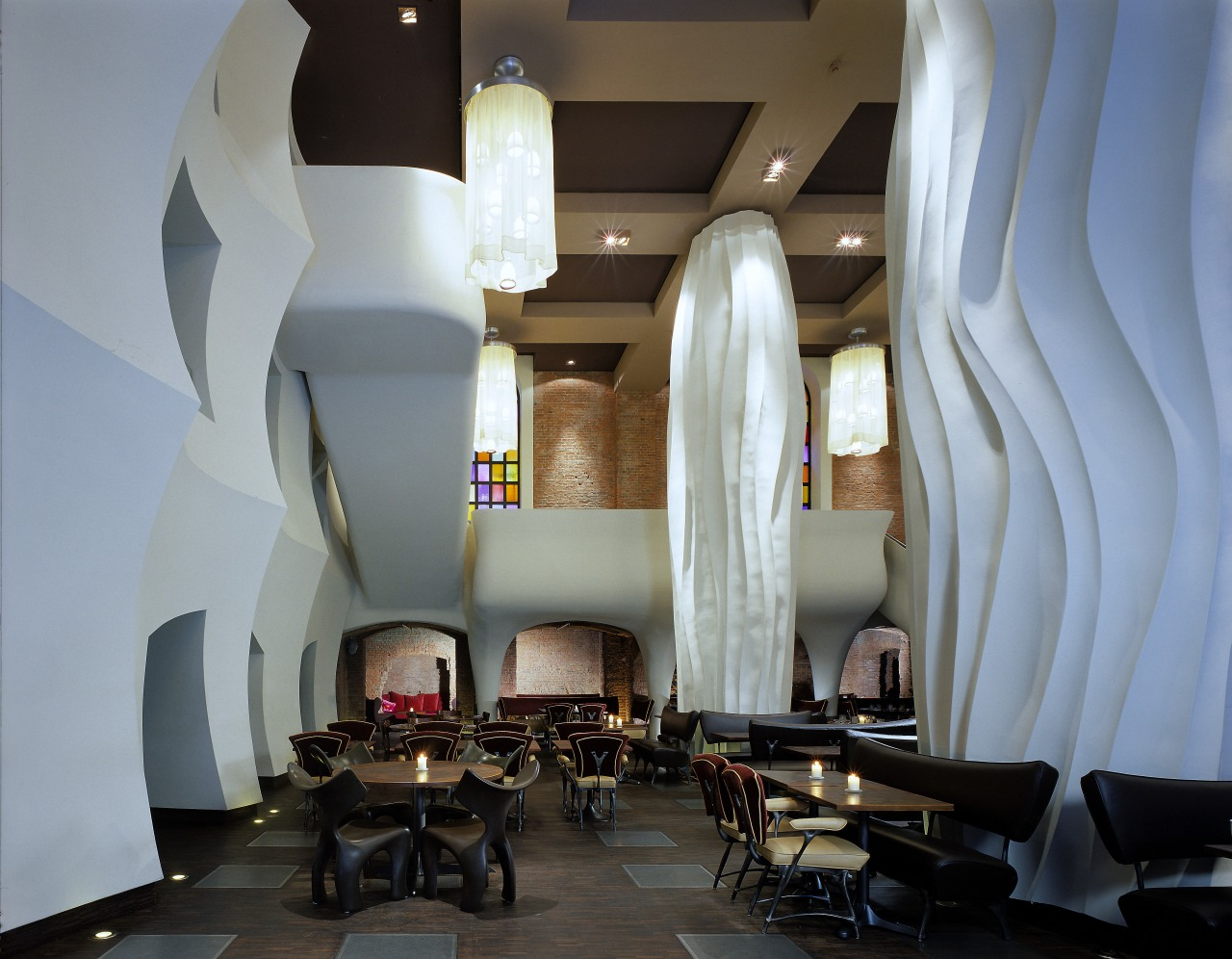 view of the restaurant that was designed and architecture, ceiling, furniture, interior design, lobby, restaurant, table, gray
