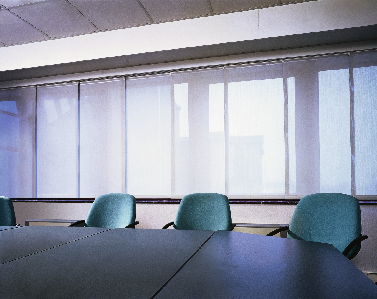 A view of some window shades. architecture, ceiling, daylighting, glass, interior design, office, shade, wall, window, window blind, window covering, window treatment, white