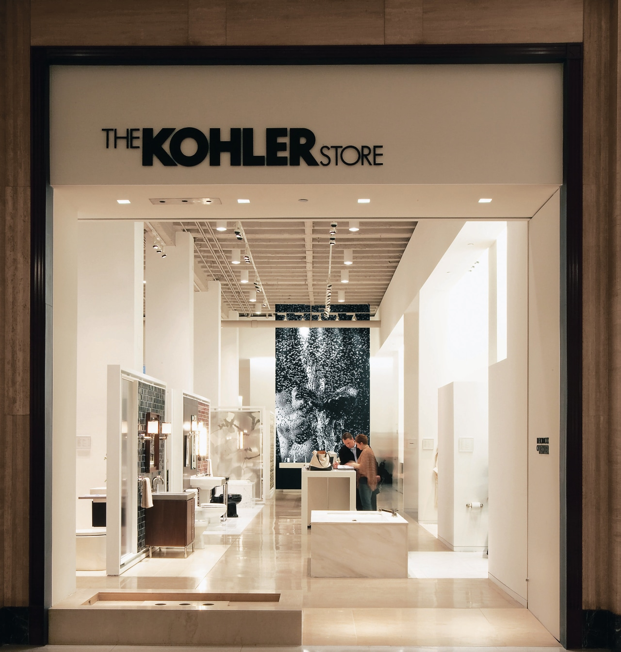 view of the new Kohler Chicago store showcasing boutique, ceiling, interior design, brown, white