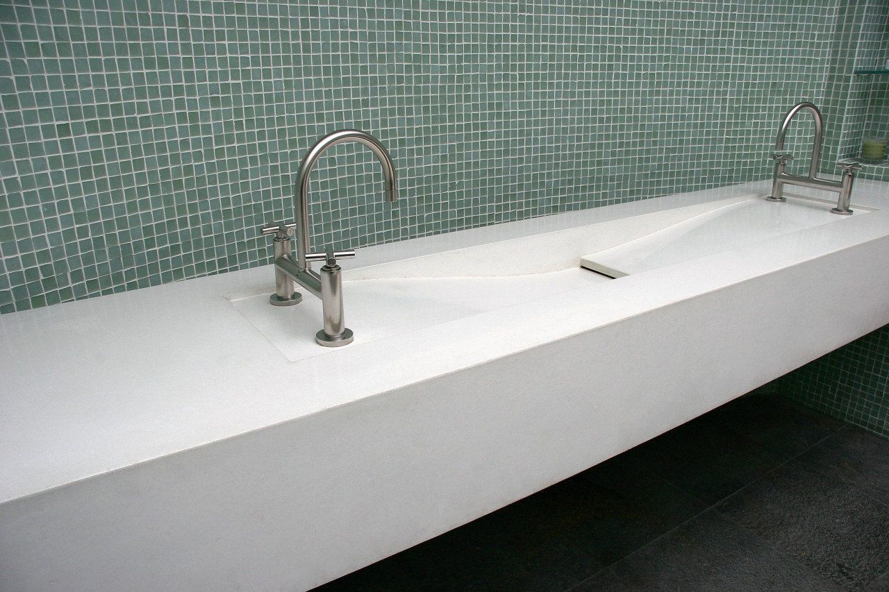 view of this contemporary concrete sink from Dex bathroom sink, floor, plumbing fixture, product design, sink, tap, tile, gray