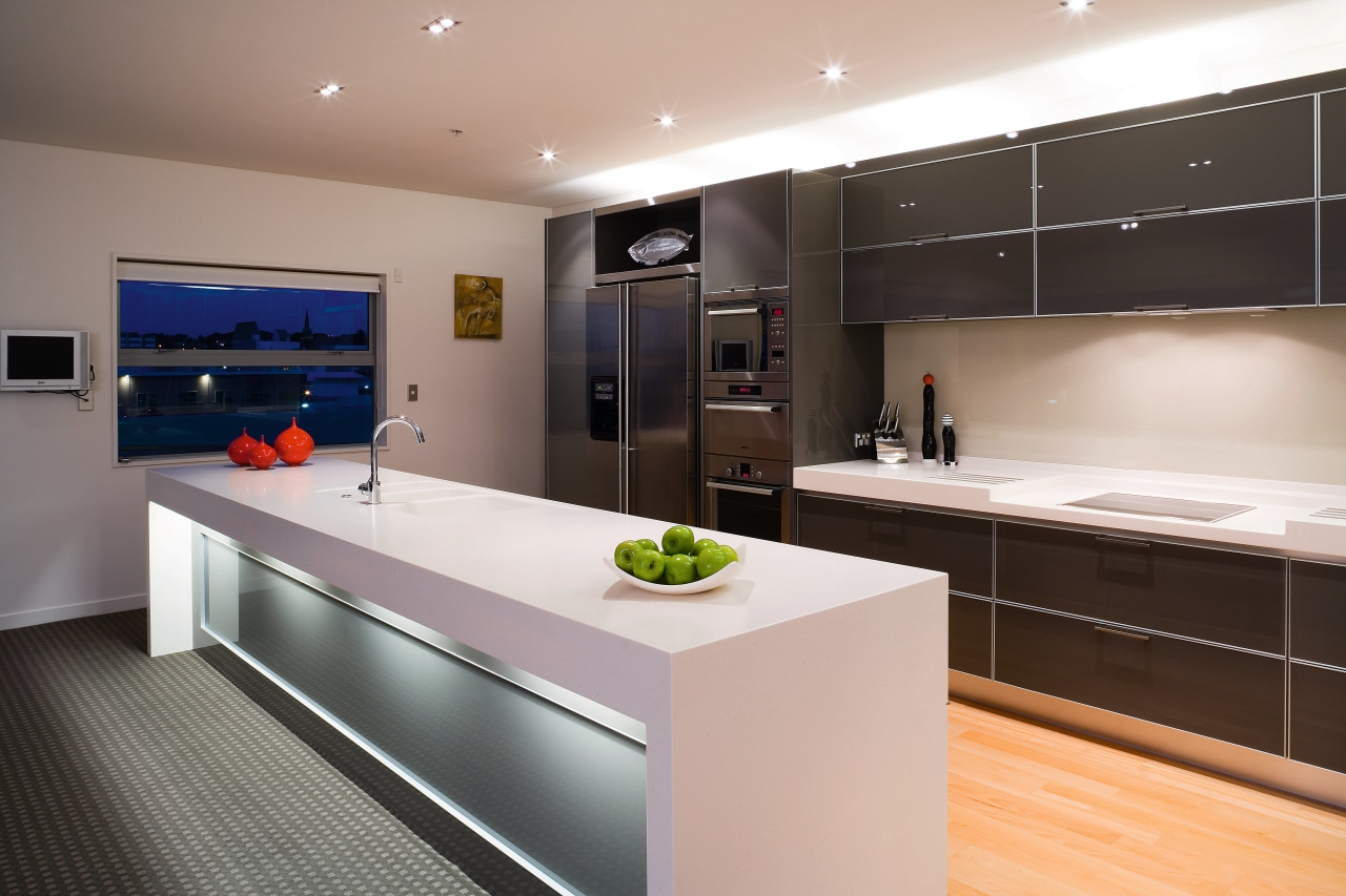 A view of the kitchen area, wooden flooring, cabinetry, countertop, interior design, kitchen, real estate, gray, black