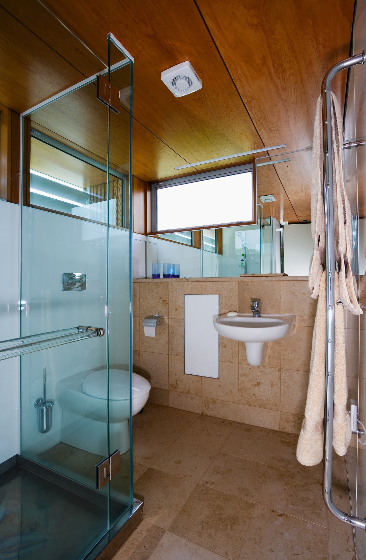 View of the master bathroom featuring tile dflooring architecture, bathroom, home, interior design, room, brown