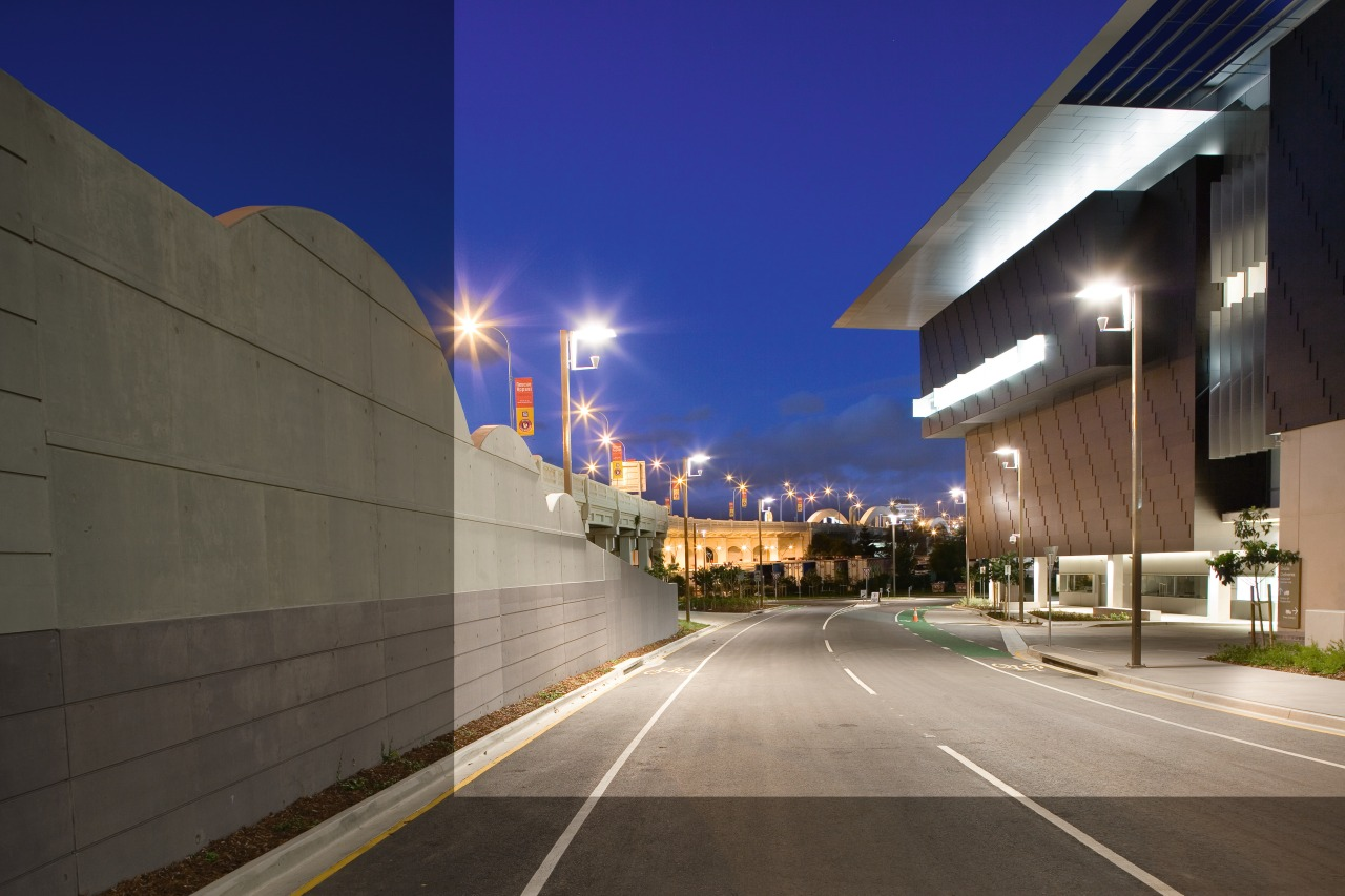 A view of some work by Wideform Queensland architecture, asphalt, building, city, daytime, evening, fixed link, infrastructure, lane, light, lighting, line, metropolitan area, night, residential area, road, sky, street light, structure, urban area, gray, blue, black