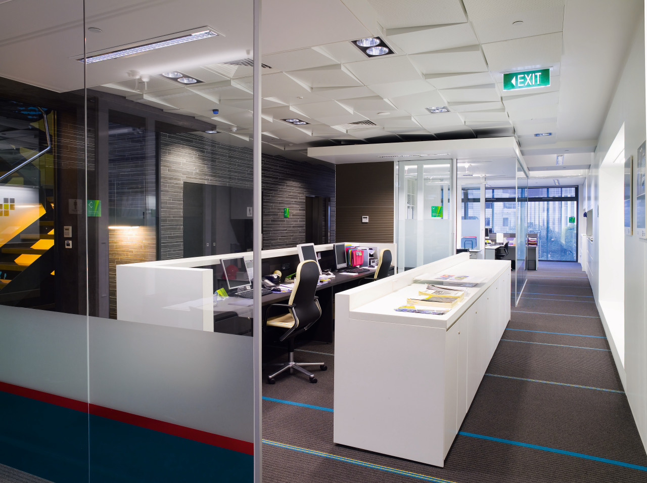 A view of  the Szencorp offices in interior design, office, gray