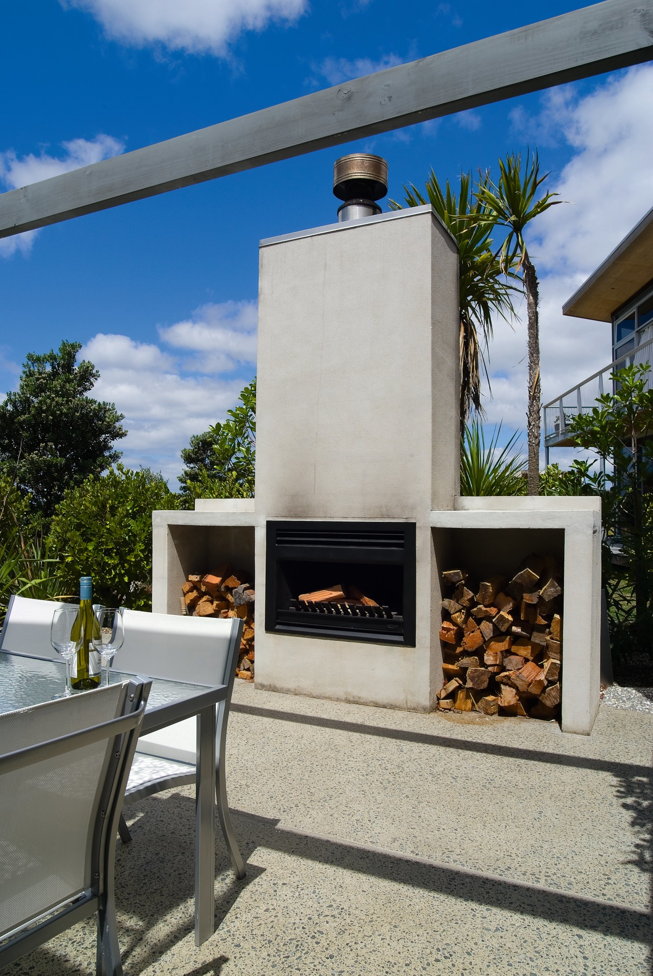 View of the precast fireplace  and exposed home, real estate, gray