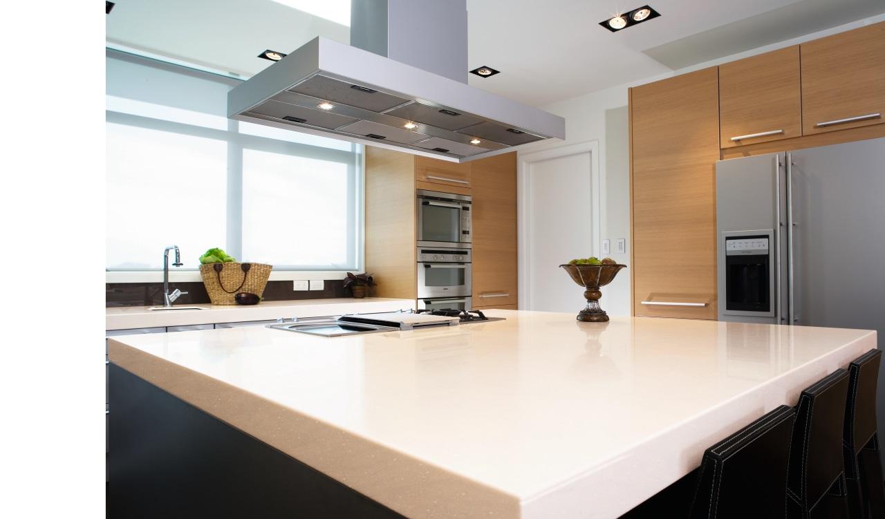 View of this kitchen featuring Cinnabar corian benchtop, countertop, interior design, kitchen, office, real estate, white