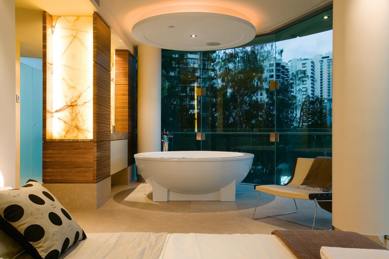 The master bathroom and bedroom are intergrated in architecture, bathroom, ceiling, estate, interior design, room, orange