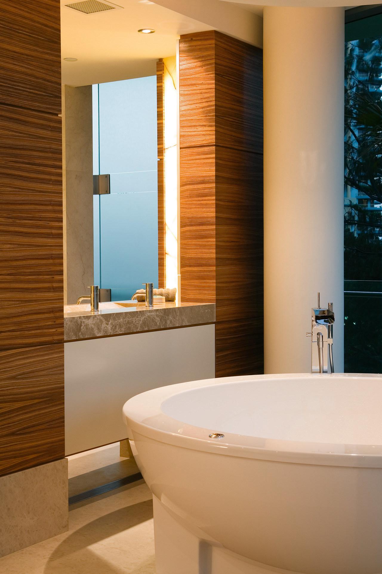 The clean lines of the freestanding spa bath architecture, bathroom, bathroom accessory, floor, home, interior design, plumbing fixture, room, wall, window, brown, orange