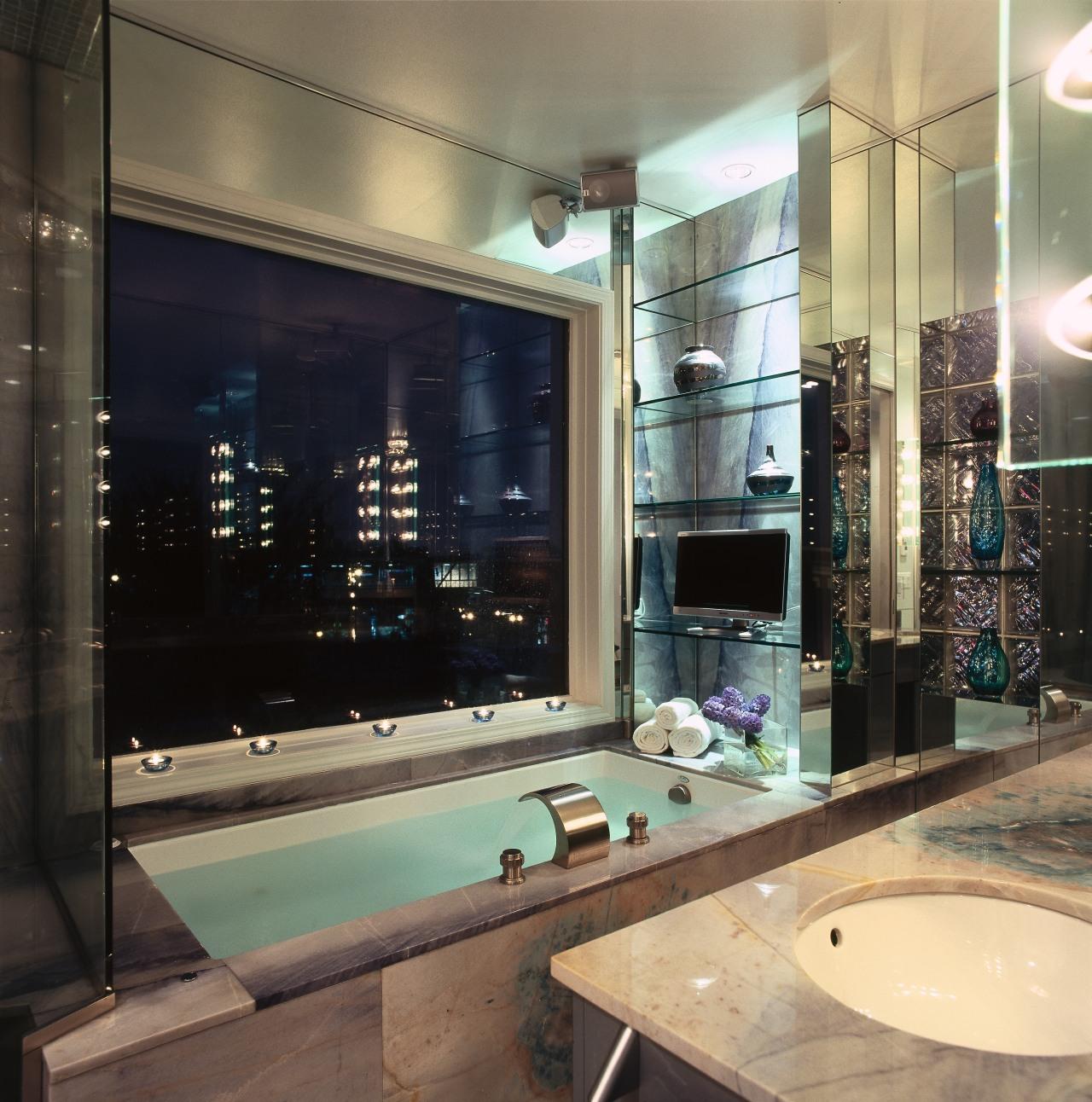 A view of the ensuite, lights, tiled tub bathroom, billiard room, glass, interior design, room, black