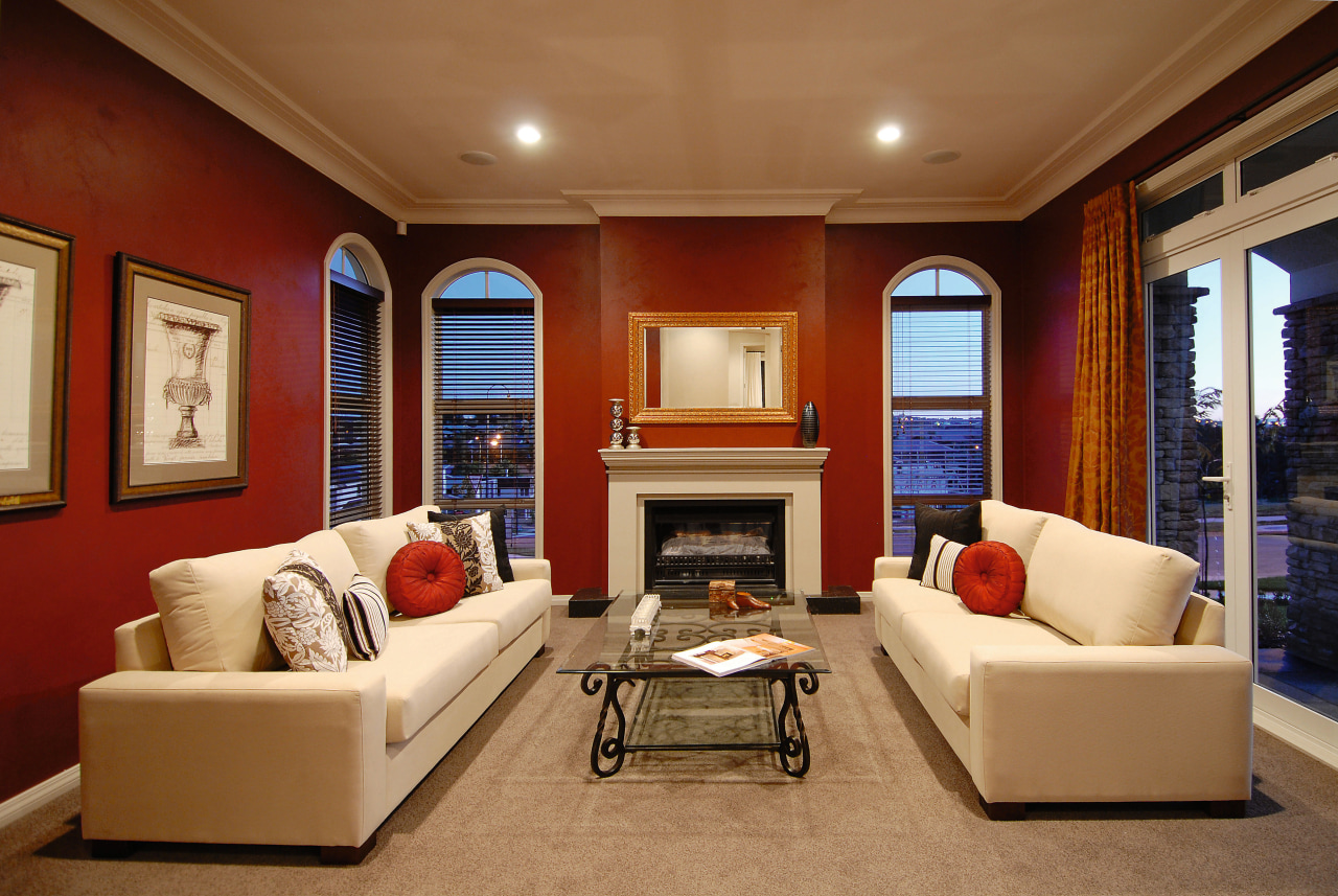 A view of a home designed and built ceiling, estate, home, interior design, living room, real estate, room, wall, window, brown, red