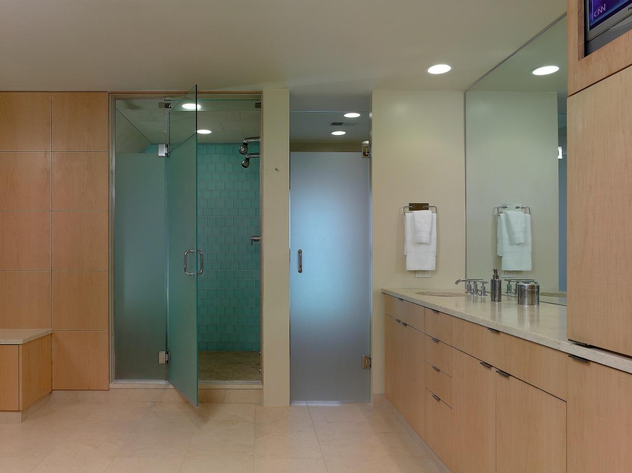 Keeping it simple – one shower stall, one bathroom, door, floor, glass, interior design, plumbing fixture, real estate, room, gray, brown