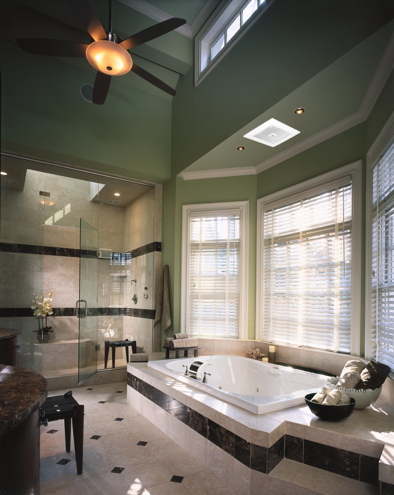 A Panasonic WhisperGreen ventilation fan on the ceiling bathroom, ceiling, daylighting, floor, home, interior design, lighting, room, window, gray, black