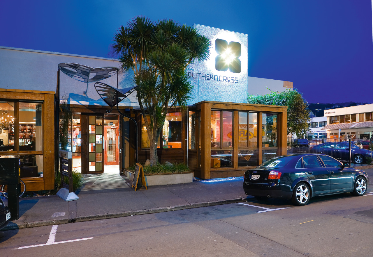 John Mills Architects gave Wellington's Southern Cross Hotel building, car, city, downtown, family car, house, luxury vehicle, mixed use, neighbourhood, real estate, sky, street, blue