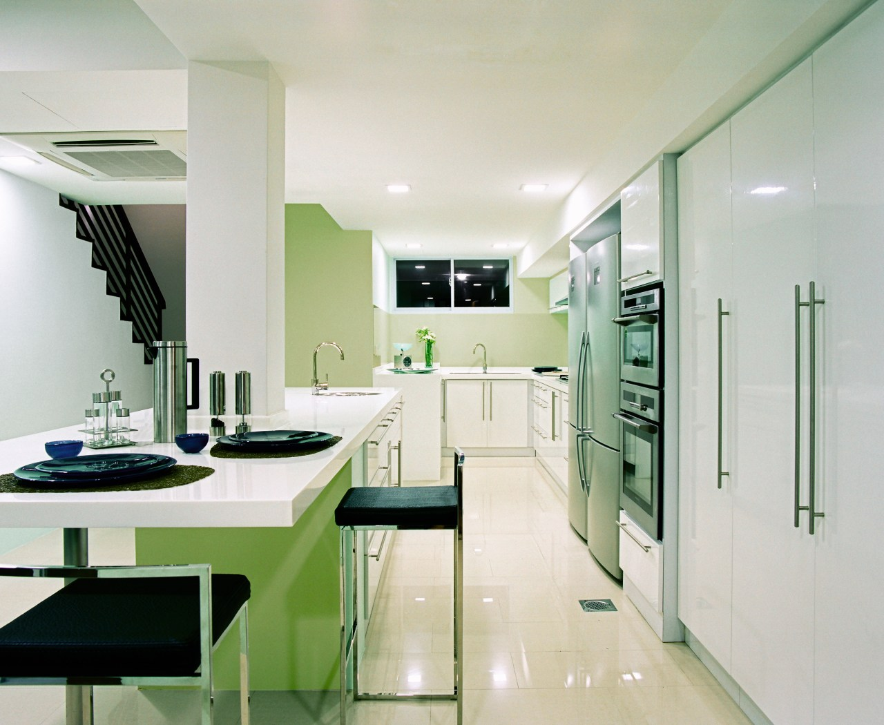 A view of this kitchen design by Ong countertop, interior design, kitchen, product design, room, gray, white